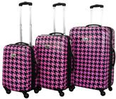 Chariot Fuchsia/Black Bird 3-piece Luggage Set