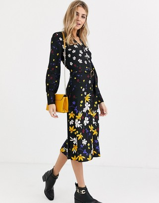 Influence button down belted midi dress in mixed floral print