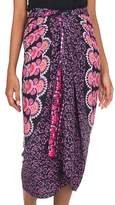 Batik Rayon Sarong in Bubblegum Pink from Indonesia, 'Pink Sunshine'