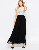 Club L Lace Top Maxi Dress With Chiffon Skirt