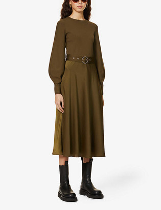 Ted Baker Gwenii belted stretch-woven and crepe midi dress