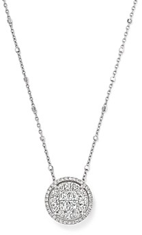 Bloomingdale's Round and Princess-Cut Diamond Cluster Pendant Satellite Necklace in 14K White Gold, 1.0 ct. t.w. - 100% Exclusive