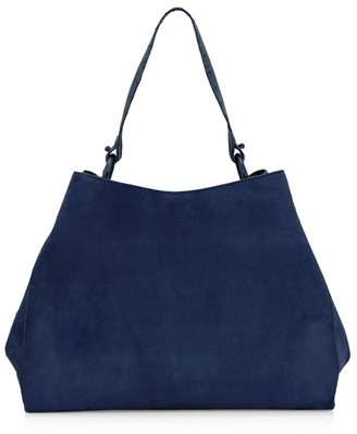 Nancy Gonzalez Large Marly Snakskin- & Crocodile-Trimmed Suede Hobo Bag