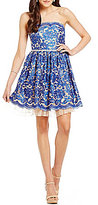 Jodi Kristopher Embroidered Lace Scalloped Fit-and-Flare Party Dress