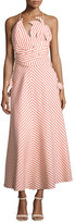 Rosie Assoulin Tutti Frutti Tropical Striped Dress, Beige
