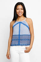 Collective Concepts Border Print Hi-Neck Embroidered Tank Top