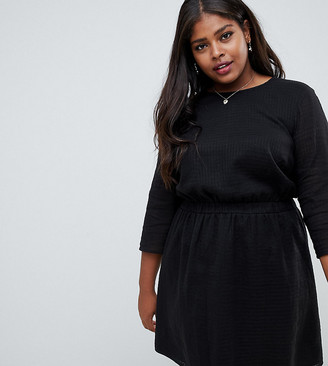 ASOS DESIGN Curve casual elasticated mini dress in grid texture