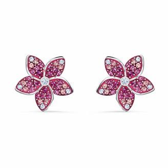 Swarovski Women's Tropical Flower Pierced Earrings Set of Brilliant Pink Crystal Earrings with Rhodium Plating