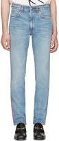 Gucci Blue Embroidered Jeans