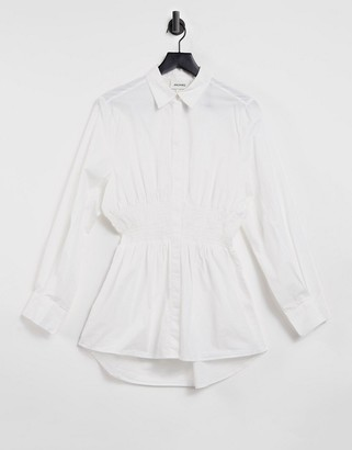 Monki Glora organic cotton blouse with cinched waist in white