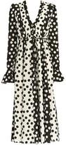 Carolina Herrera Polka Dot V-Neck Tie-Waist Poet-Sleeve Midi Dress