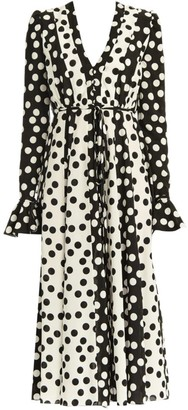 Carolina Herrera Polka Dot V-Neck Tie-Waist Poet-Sleeve Midi Dress