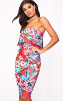 PrettyLittleThing Hot Pink Floral Bandeau Midi Dress