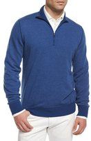 Loro Piana Roadster Half-Zip Cashmere Sweater, Blue