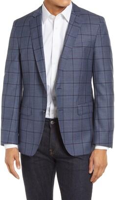HUGO BOSS Hartlay Herringbone Plaid Wool Sport Coat