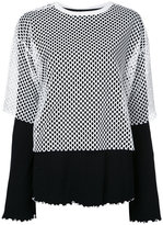 G.V.G.V. mesh layered ribbed jersey top - women - Cotton/Polyester - XS