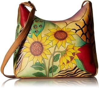 Anuschka Anna by Genuine Leather Hobo Shoulder Bag | Hand Painted Original Artwork | Sunflower Safari