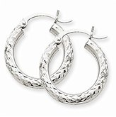 PriceRock 14k Gold White Gold Diamond-cut 3mm Round Hoop Earrings