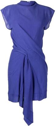 Nina Ricci Draped Asymmetric-Hem Mini Dress