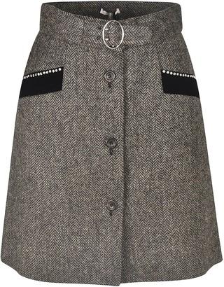 Miu Miu Checked Buttoned Detail Skirt