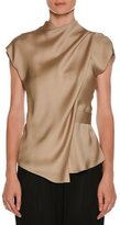 Giorgio Armani High-Neck Cap-Sleeve Silk Charmeuse Blouse