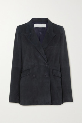 Gabriela Hearst Angela Double-breasted Suede Blazer - Navy