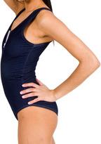 American Apparel Faux Denim Zipper-Front Bodysuit