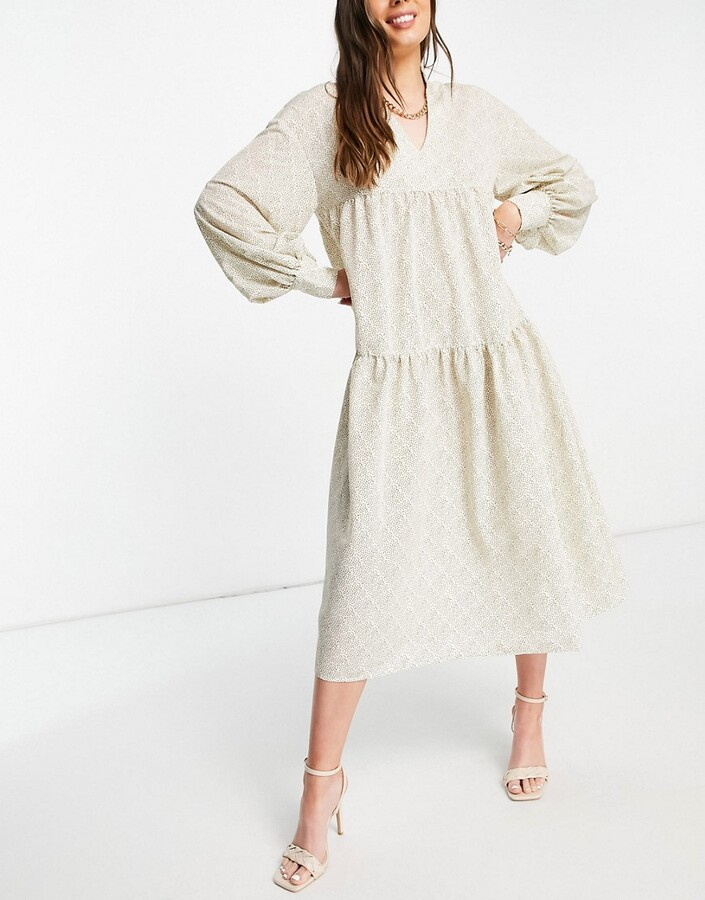 Pretty Lavish Petunia balloon sleeve midi dress in printed chiffon