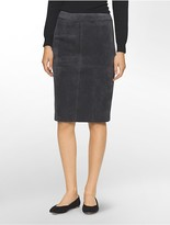 Calvin Klein Suede Straight Suit Skirt