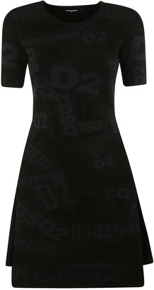DSQUARED2 All-over Logo Print Flared Dress
