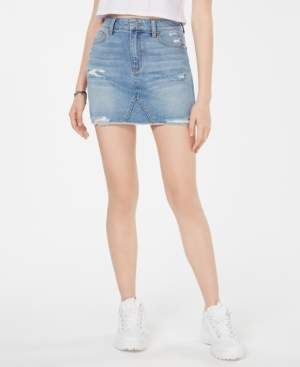 Tinseltown Juniors' Ripped Denim Mini Skirt