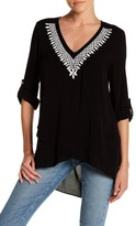 Karen Kane Embroidered Crossover Hi-lo Shirt