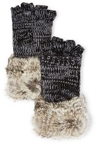 Surell Girls' Rabbit Fur Cuff Flip Top Mittens