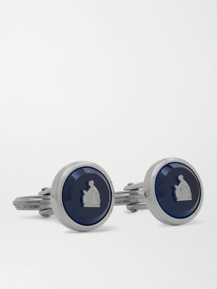 Lanvin Logo-Detailed Rhodium-Plated Sodalite Cufflinks