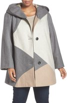 Gallery Colorblock Wool Blend Coat (Plus Size)