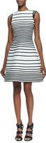 Halston A-Line Striped Dress With Cap Sleeves