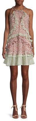 Rebecca Taylor Lucia Silk Metallic Ruffle Dress