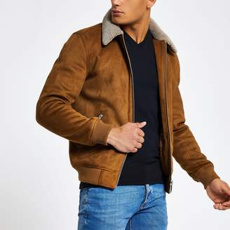 River Island Mens Light Brown faux suede borg collar jacket