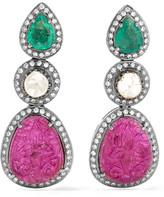 Amrapali 18-karat Gold And Silver Multi-stone Earrings - one size
