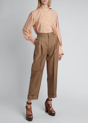 Chloé Pinstripe Wool High-Waist Cuff Pants