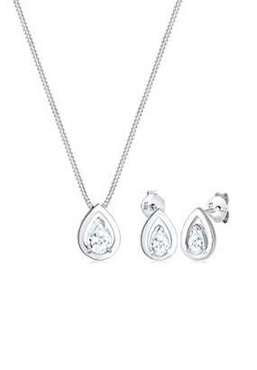 Elli Women's 925 Sterling Silver Drop Zirconia Classic Jewellery Set - 45cm length