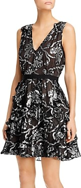 Rebecca Taylor Silk-Blend Metallic-Paisley Dress