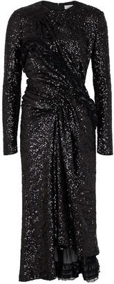 Preen by Thornton Bregazzi Black Sequin Midi Dress