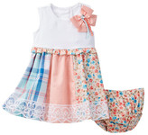 Iris & Ivy Paneled Dress & Bloomer Set (Baby Girls)
