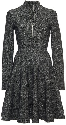 Azzedine Alaïa Long Sleeve Front Zip Skater Dress