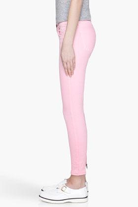 Christopher Kane J BRAND x Bubblegum pink Engineered Crinkle Skinny jeans