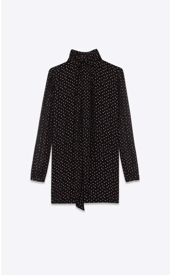 Saint Laurent Lavalliere-Neck Dress In Silk Seersucker Printed With Tiny Stars