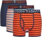Crosshatch Men's 3 Pack All Sync Striped Boxers - Mood Indigo/Red Orange