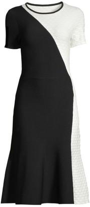 Shoshanna Desdemona Hexagon Embossed Midi Dress