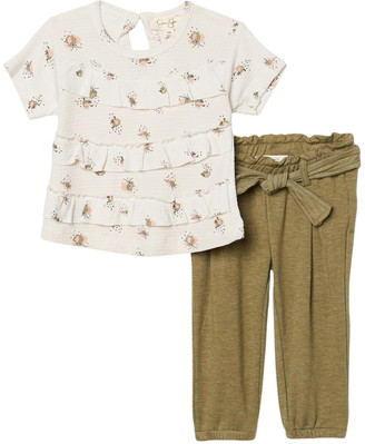 Jessica Simpson Short Sleeve Printed Thermal Knit Top & Pants 2-Piece Set